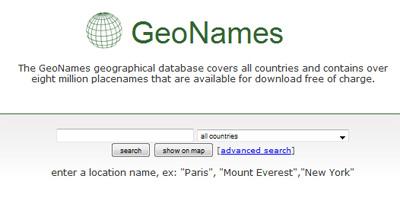 geoNames screenshot