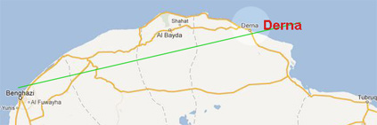 Map of the no-fly zone over Libya.