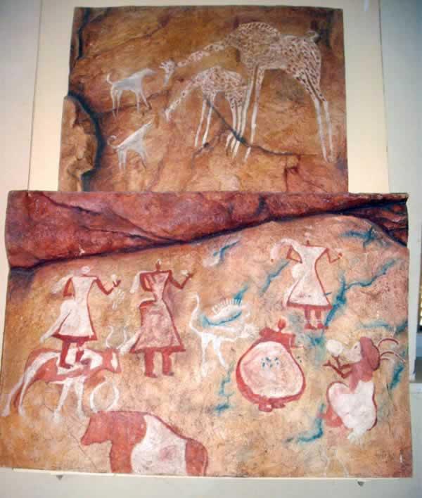 prehistoric dancing or ritualistic scene from germa museum, fezzan