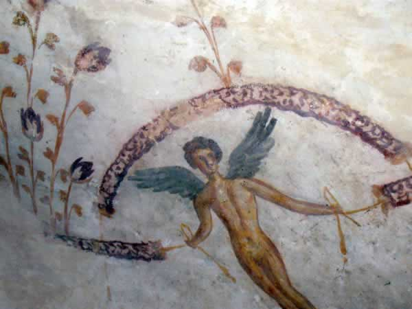 wall paintings: an angel surrounded with flowers