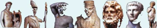 statues from various museums in Libya