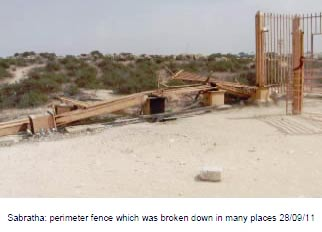 damage to the fence around Sabratha archaeological site