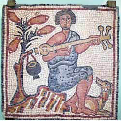 ancient mosaic musical instrument from the museum of Qasr Libya