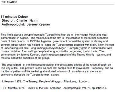 Keenan Tuareg film information