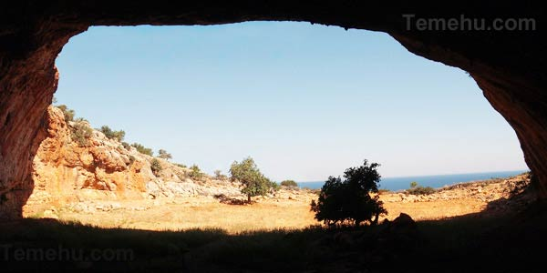 the view from inside the cave of haua fteah