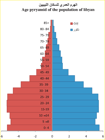 age pyramid for male and female libyans
