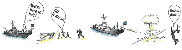 illustration from wikileaks showing the EU rescuing refugees