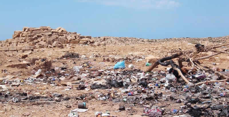 rubbish dump in an archaeological site