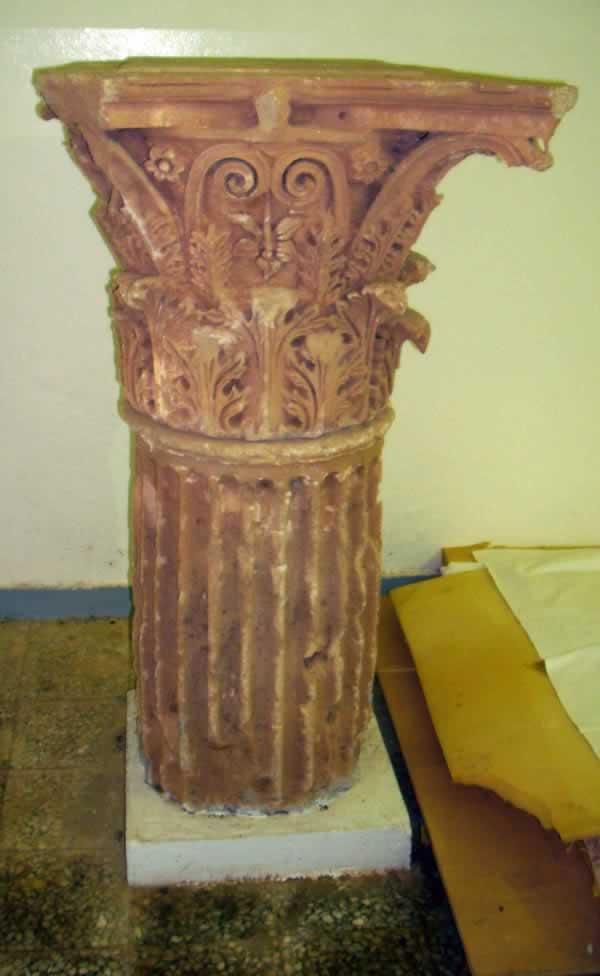carved stone column