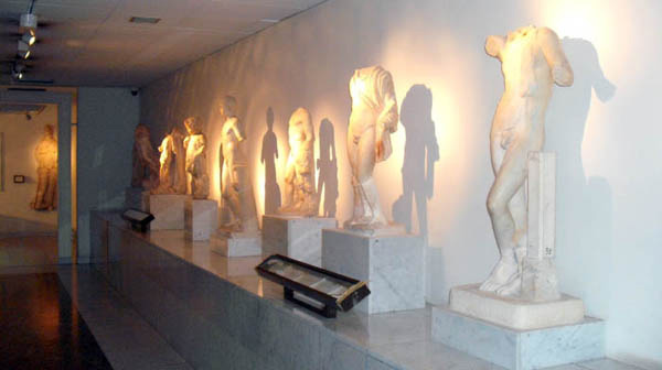 A line of statues on disply at the Jamahiriya Museum, Tripoli, Libya