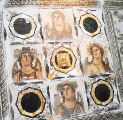 Roman mosaic scene of the four seasons from Assaraya Alhamra museum in tripoli
