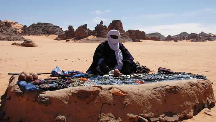 tuareg jewellery shop in the desert