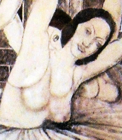 a section  from The Bardia Mural Drawing showing the ballet dancers' top naked half with multiple breasts