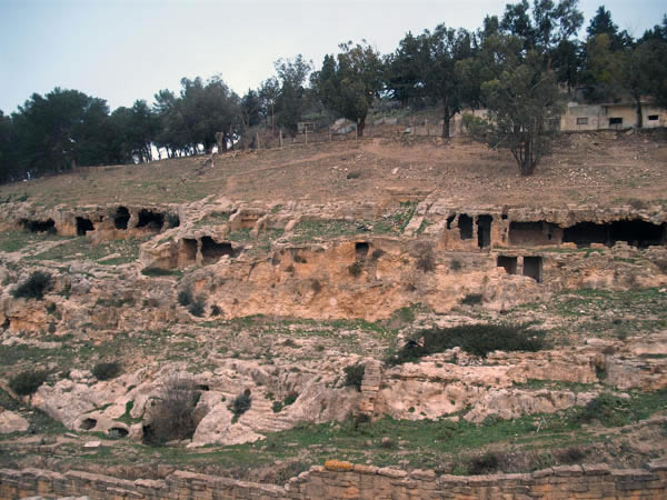 a view of the caves dug in the mountain