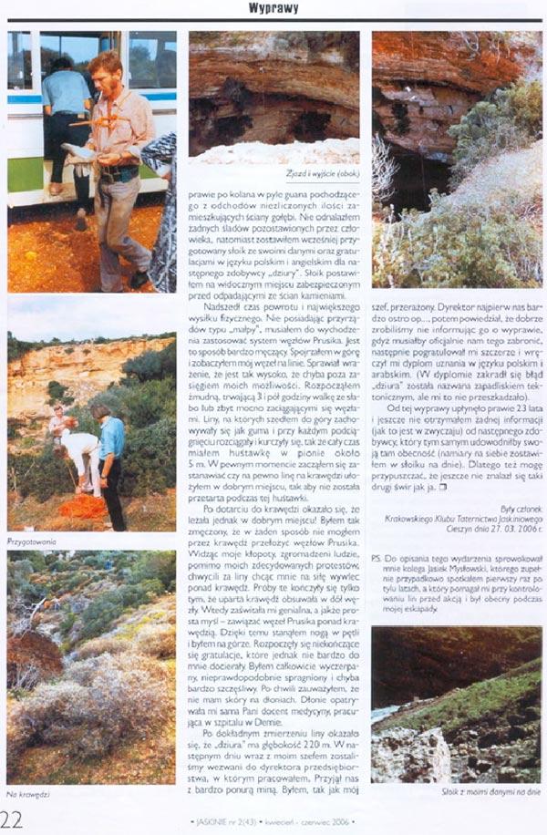 cyrene hole in Jaskinie Magazine