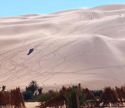 driving over the sand dunes