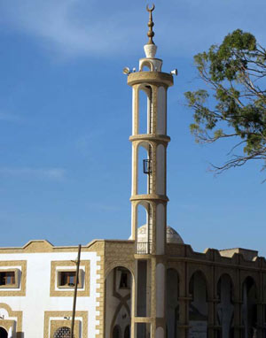 open minaret mosque with a lift
