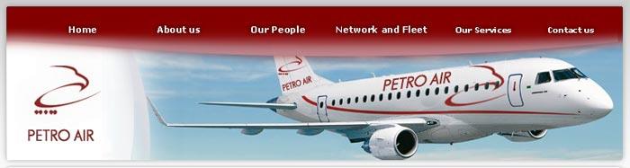 screenshot of the website of Petro Air