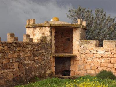 qasr libya fort, showing  a corner of a watch tower