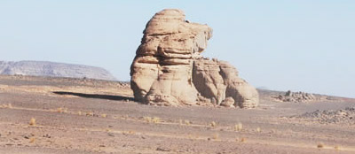 Sphynx-like natural sculpture from Acacus desert