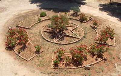 a garden in Qasr Libya in the shape of a ring with a star in the middle
