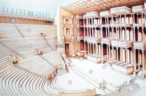 a reconstruction of what the theater would have looked like when it was complete