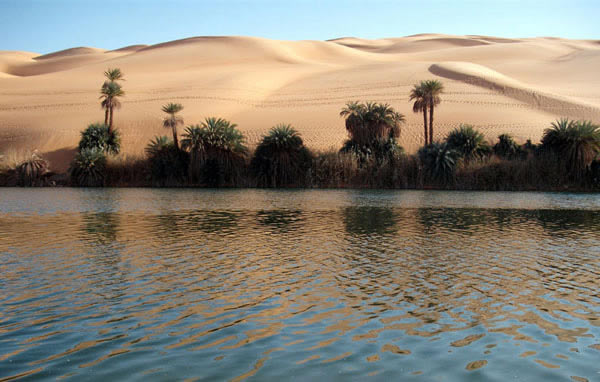 Umm al-Maa lake,in fezzan