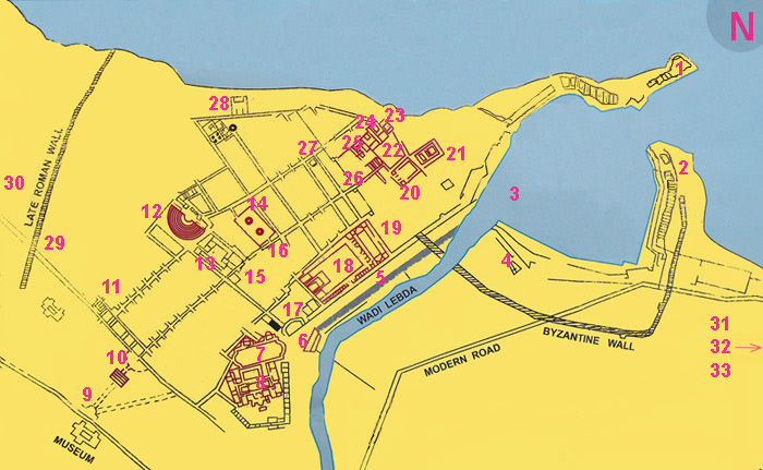 map of archaeological sites in Leptis Magna