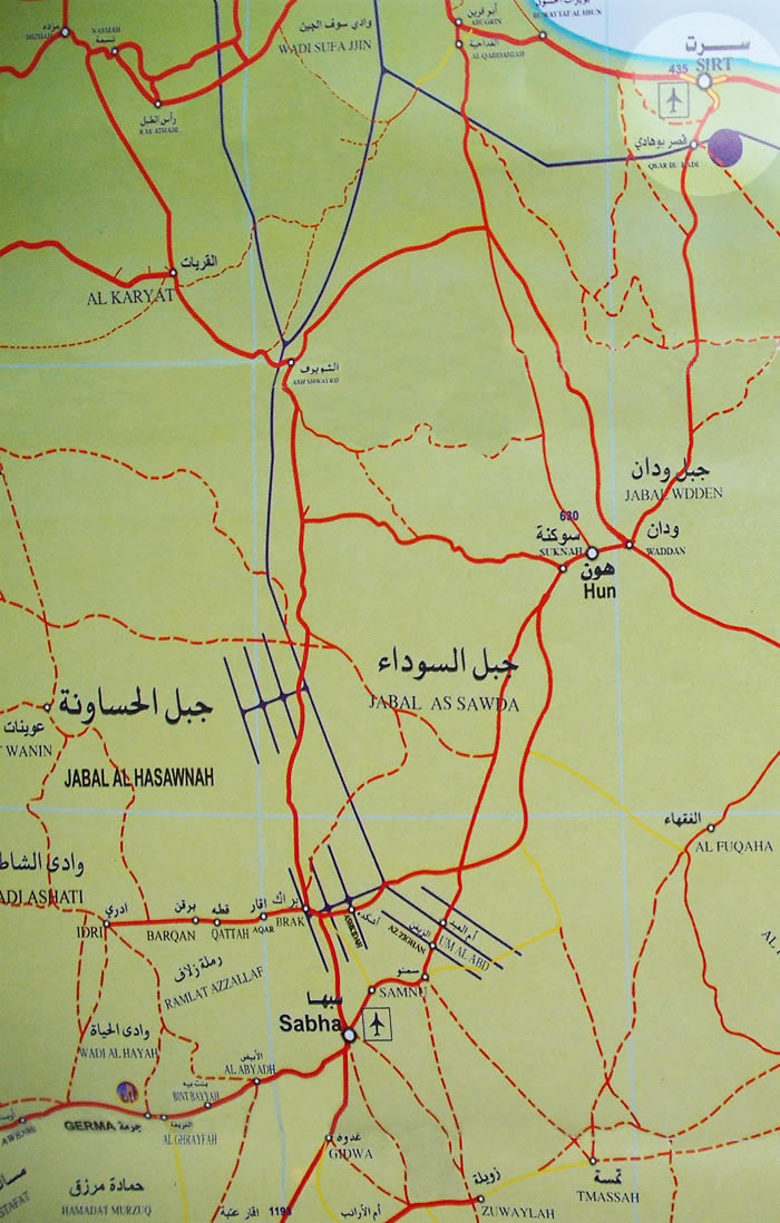 maps of libya. Qaryat Sabha Road map in Libya