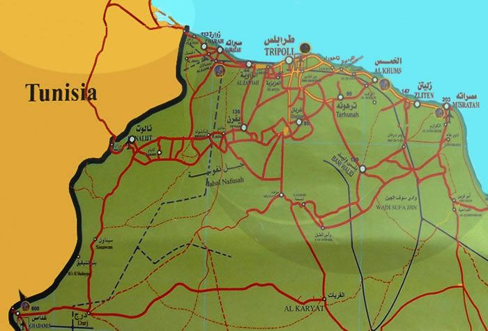Tripolitania Nafousa Mountain Ghadames road map