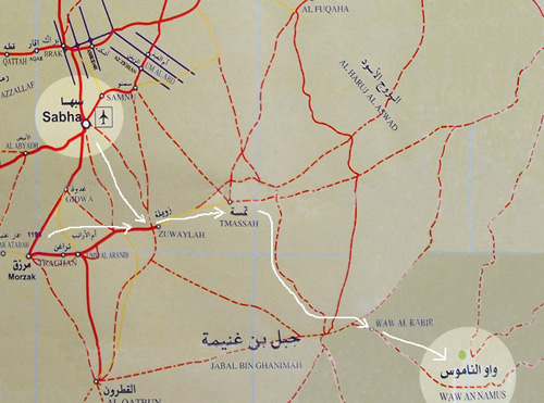 map of roads around Sabha and to Waw Annamous, south Libya