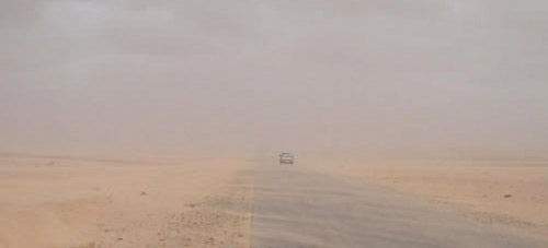 Road sand storm