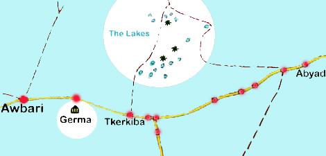A map of the Awbari Lakes, Libya.