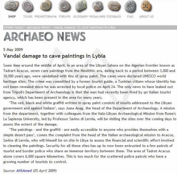 Archaeo News screen shot of the news of vandalism