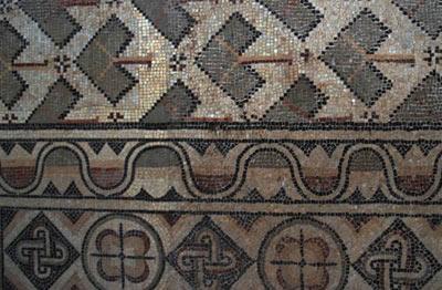 a close up of mosaic designs