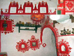 Berber traditional interior house decoration from Ghadames: red paint on white walls