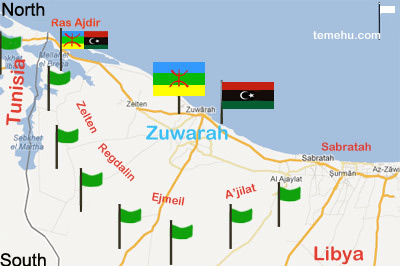 1a24961d3 the black crescent map, showing Gaddafi loyalists around Zuwarah