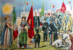 Chromolithograph of the Italo-Turkish War peace treaty over Libya