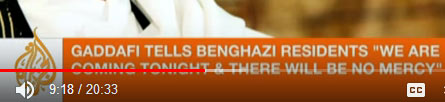 gaddafi addresses  Benghazi