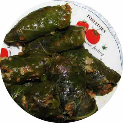 lebrak: a Libyan dish made of vine leaves stuffed with rice