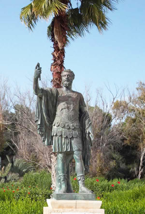 Commanding bronze statue of the Berber Roman emperor Septimius Severus