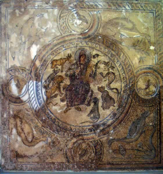 mosaic scene of a figure surrounded by animals
