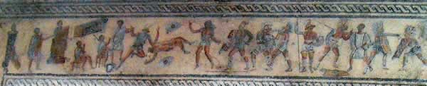 Mosaic scenes from Tripoli's Museum the Red Fort or Jamahiriya Museum