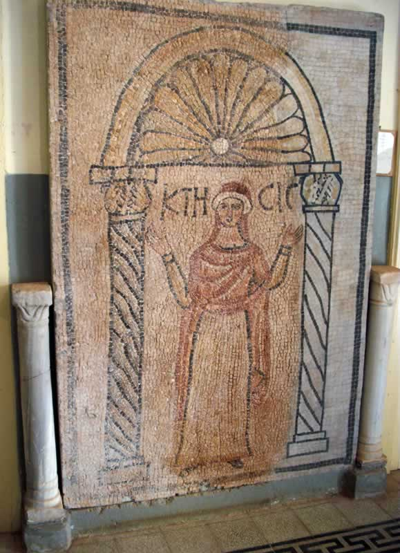 A large mosaic panel of the goddess Ktisis