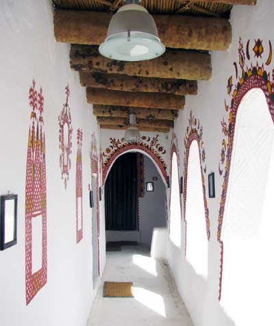 ghadames house corridor, with red paint designs