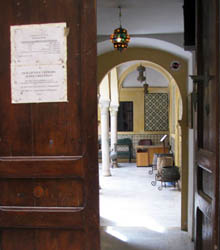 the inside view from the front door of the Karamanli House
