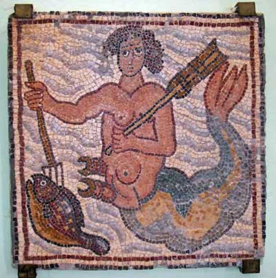 A merman spearing a fish with his trident