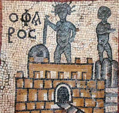 this mosaic shows the Pharos light house in Alexandria