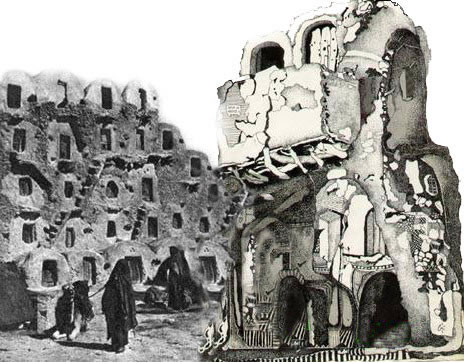 A hand drawing of Berber castles