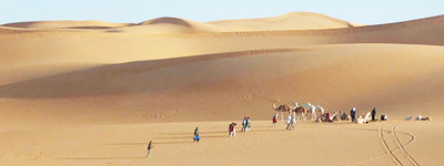 sahara sand dunes, camels and people